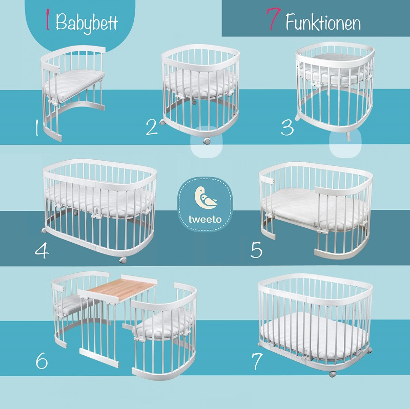Babybett PREMIUM SET (inkl. Kokos-Latex Matratze)
